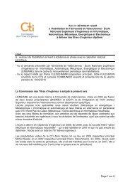Avis ENSIAME - Commission des Titres d'Ingénieur
