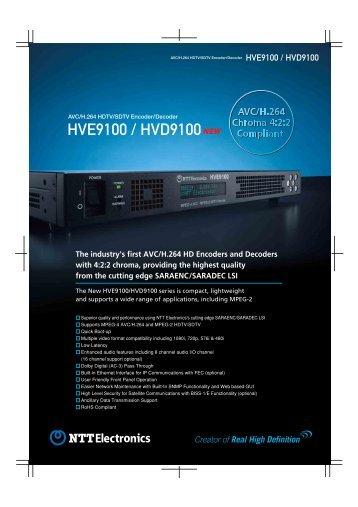 HVE9100 / HVD9100 - Hitachi High Technologies America, Inc