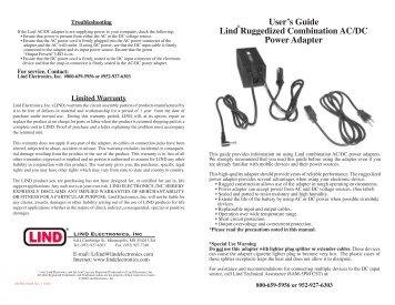 Ruggedized AC DC Combo Adapter (475KB pdf) - Lind Electronics