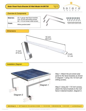 Solar Panel Facia Bracket 20 Watt Model #A-BKT20 - Solaro Energy