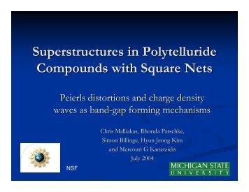 Superstructures in Polytelluride Compounds with ... - chemgroups