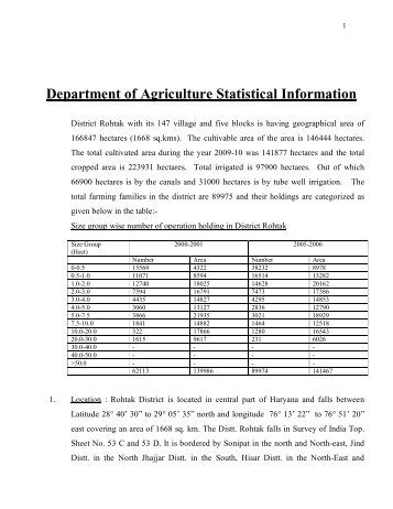 Department of Agriculture Statistical Information - District Rohtak