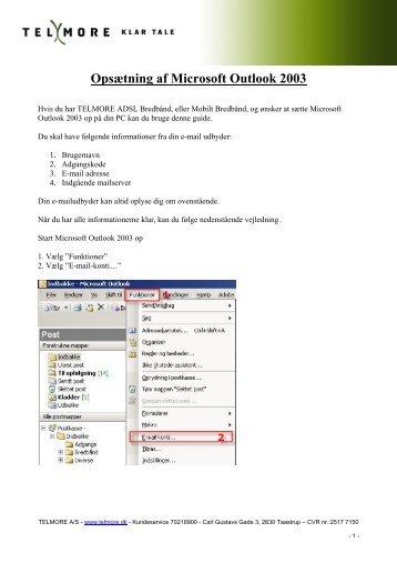 Opsætning af Microsoft Outlook 2003 - Telmore