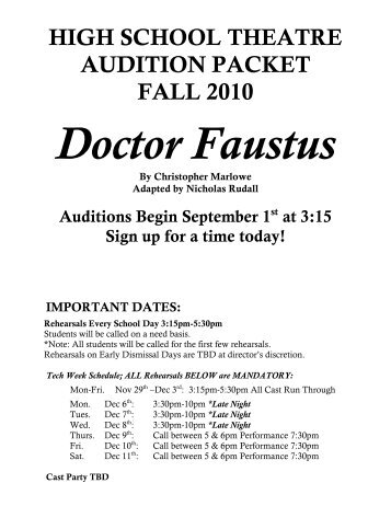 Dsa theatre audition packet for urinetown denver public high school theatre audition packet fall 2010 doctor fandeluxe Gallery