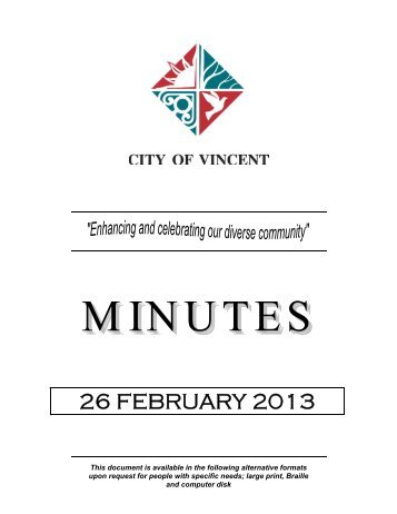 26 FEBRUARY 2013 - City of Vincent