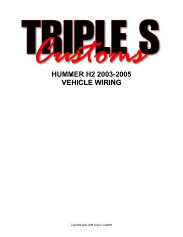 HUMMER H2 2003-2005 VEHICLE WIRING - AlarmSellout