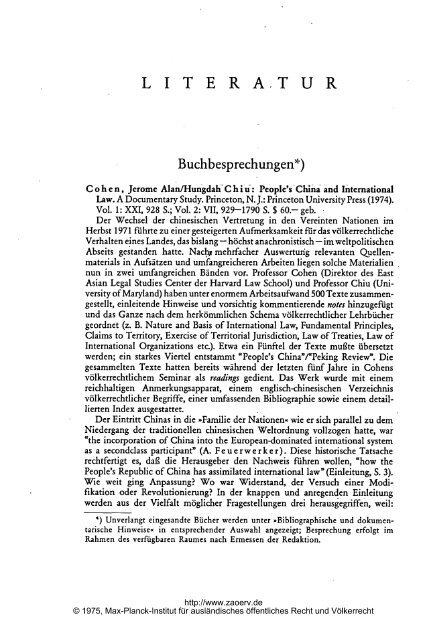 Buchbesprechungen*) - Zeitschrift für ausländisches öffentliches ...