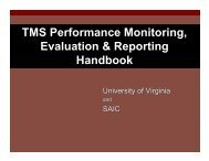 TMS Performance Monitoring, Evaluation & Reporting Handbook