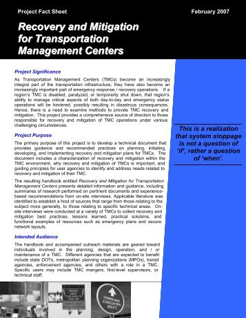 Recovery and Mitigation for Transportation Management Centers
