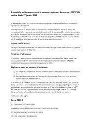 Brèves informations concernant le nouveau règlement de concours ...