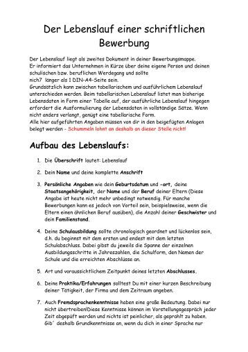 der lebenslauf einer schriftlichen bewerbung vs heroldsbach - Lebenslauf Uberschrift