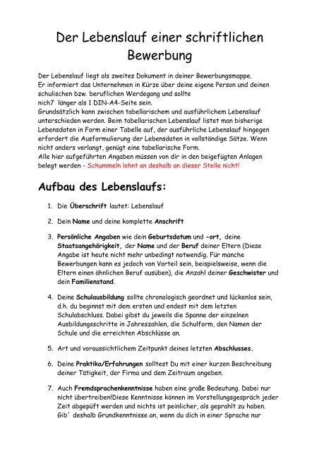Der Lebenslauf Einer Schriftlichen Bewerbung Vs Heroldsbach
