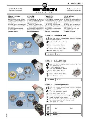 Kits de montres Uhren-Kit Watch-Kit Kit de relojes KIT no 1 - calibre ...