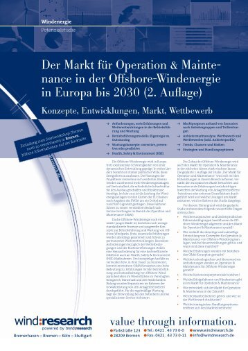 Der Markt für Operation & Mainte- nance in der ... - trend:research