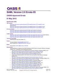 SAML Version 2.0 Errata 05 - docs oasis open - Oasis