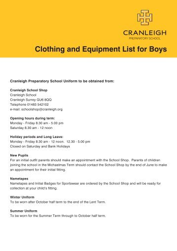 Clothing and Equipment List for Boys - Cranleigh Preparatory School