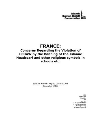 08janFranceCEDAWproof.pdf - Islamic Human Rights Commission