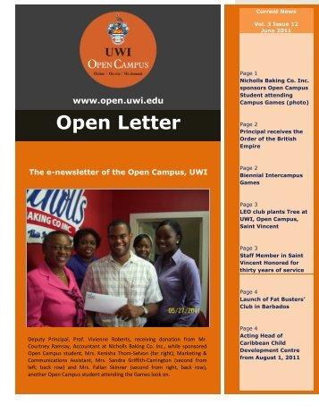Open Letter Volume 3 June 2011. - Open Campus - Uwi.edu