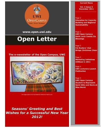 Open Letter Volume 4 December 2011 - The University of the West ...