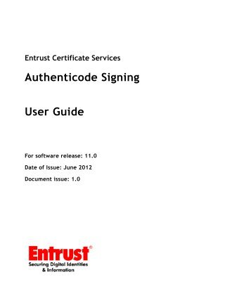 Entrust Certificate Services Authenticode Signing User Guide