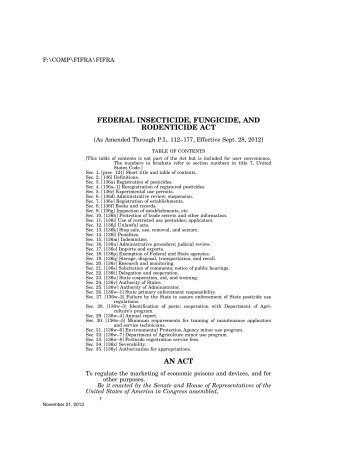 Federal Insecticide, Fungicide, and Rodenticide Act - U.S. Senate ...