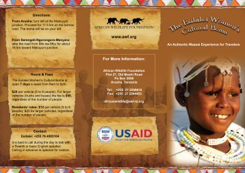 For More Information: www.awf.org - African Wildlife Foundation