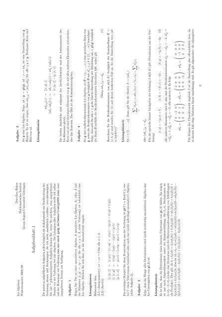 Lösungshinweise - Mathematisches Institut - GWDG
