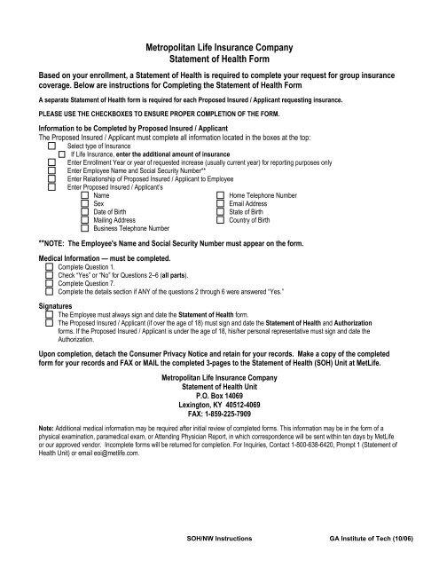 Met Life Insurance >> Metropolitan Life Insurance Company Statement Of Health Form
