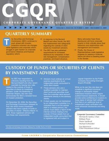 Corporate Governance Quarterly Review, Vol. 5 #4 ... - LACERA