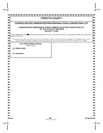 Consolidated Ballot - Democratic - Forsyth County Government