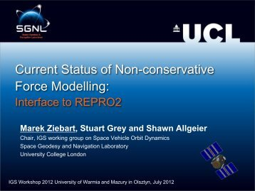 Current Status of Non-conservative Force Modelling: - IGS - NASA