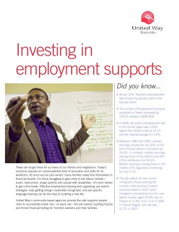 Investing in employment supports - United Way Toronto