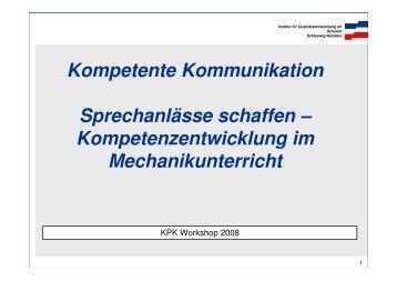 Kompetenzentwicklung im Mechanikunterricht - Abteilung für ...