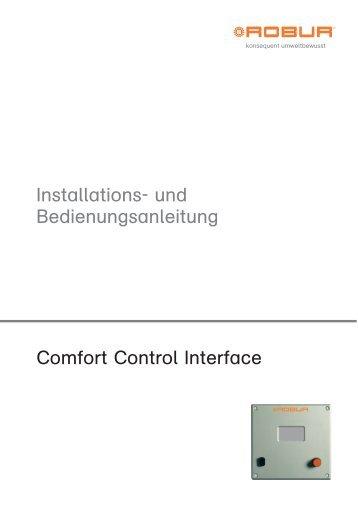 und bedienungsanleitung comfort control interface robur. Black Bedroom Furniture Sets. Home Design Ideas