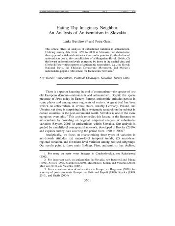 Slovakia - Journal for the Study of Antisemitism