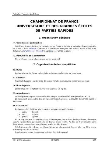 Championnat de France Universitaire - Fédération Française des ...