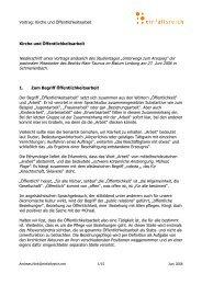 Vortrag: Kirche und Öffentlichkeitsarbeit Kirche und ... - einfallsreich