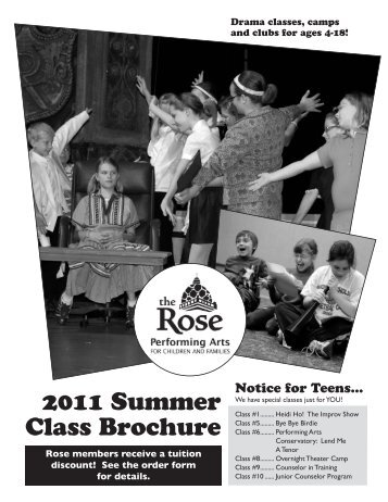 2011 Summer Class Brochure - The Rose