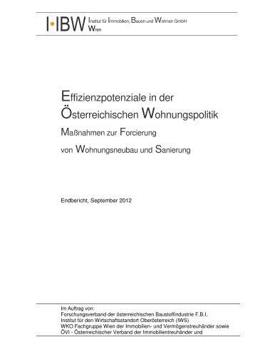 IIBW 2012 Effizienzpotenziale Wohnungspolitik 20120918 - Internorm