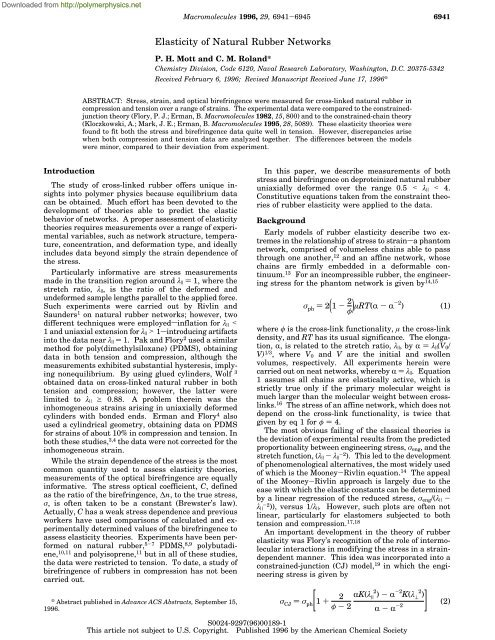Elasticity Of Natural Rubber Networks Polymer Physics