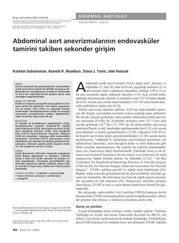 Abdominal aort anevrizmalarının endovasküler tamirini takiben ...
