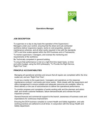 Operations Manager JOB DESCRIPTION To Supervise ...   Housingnet