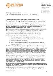 Hintergrund-Informationen zum Bundestafeltreffen 2012 in Suhl