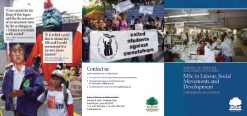 MSc Labour, Social Movements & Development - The School of ...