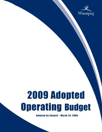 2009 Adopted Operating Budget - City of Winnipeg