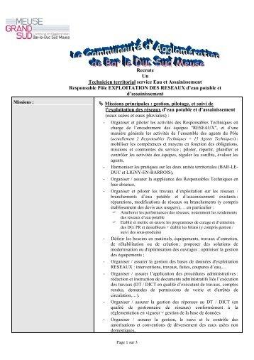 Recrute Un Technicien territorial service Eau et ... - Bar-le-Duc