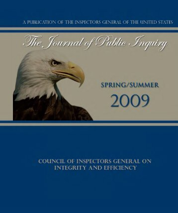 Spring/Summer 2009 - Council of the Inspectors General on Integrity ...