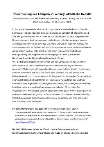 Überarbeitung des Lehrplan 21 verlangt öffentliche Debatte (Elsbeth ...