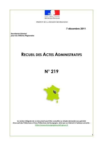 RAA 219 - Préfecture de la Côte-d'Or