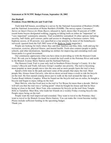 Statement at M-NCPPC Budget Forum, September 18, 2002 Jim ...